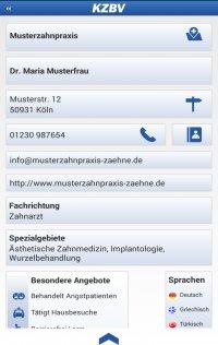 Screenshot der App Zahnarztsuche